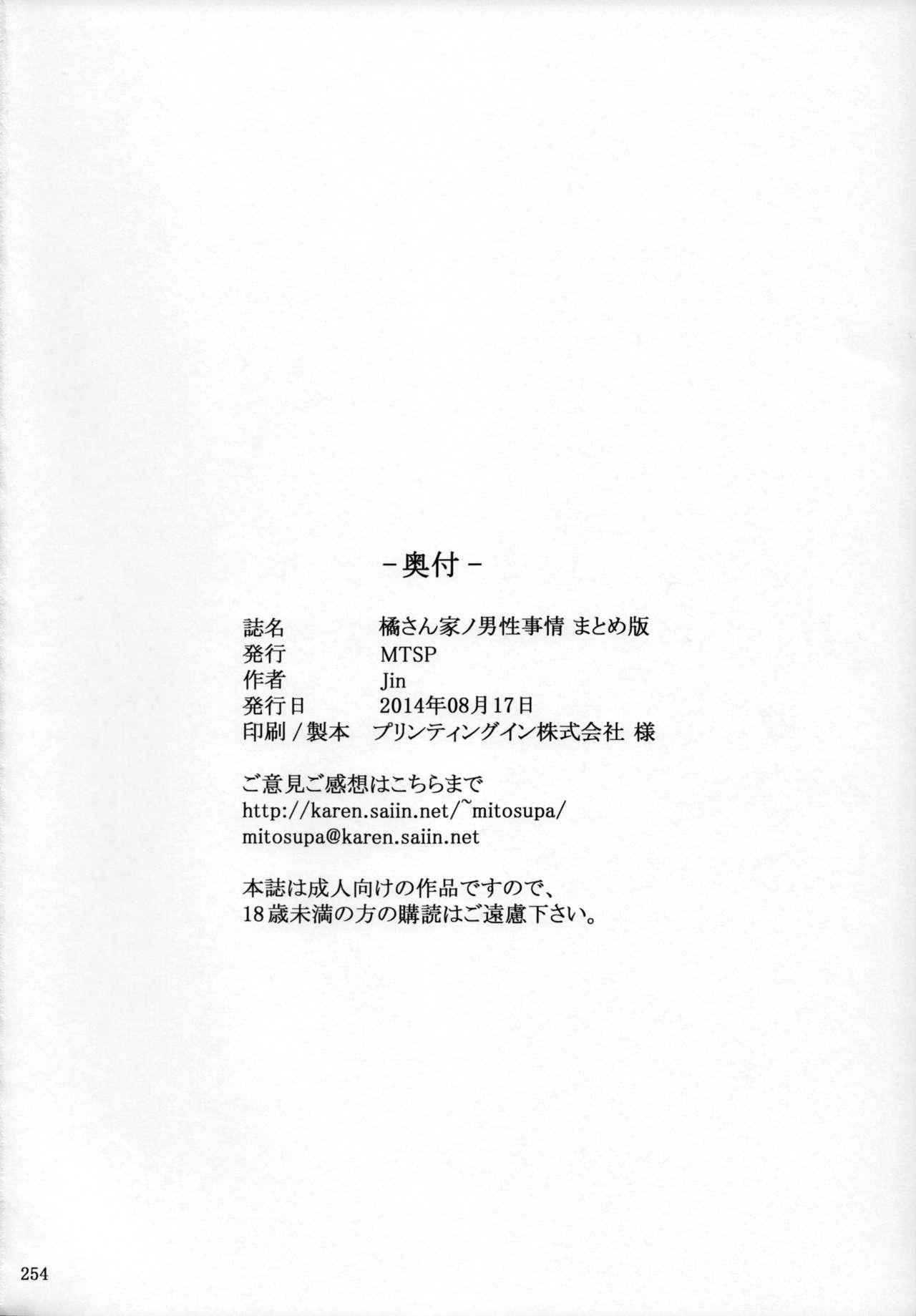 (C86) [MTSP (Jin)] Tachibana-san-chi no Dansei Jijou Matome Ban [English] [Colorized] 251