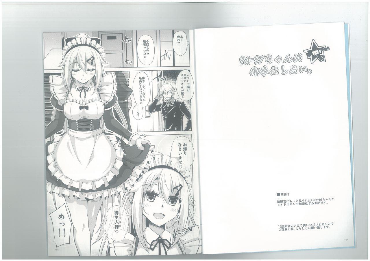 (C96) [Dokomademo Aoi Sora ni Ukabu Niku. (Nikusoukyuu.)] 9a-91-chan wa Gohoshi Shitai. (Girls' Frontline) 2