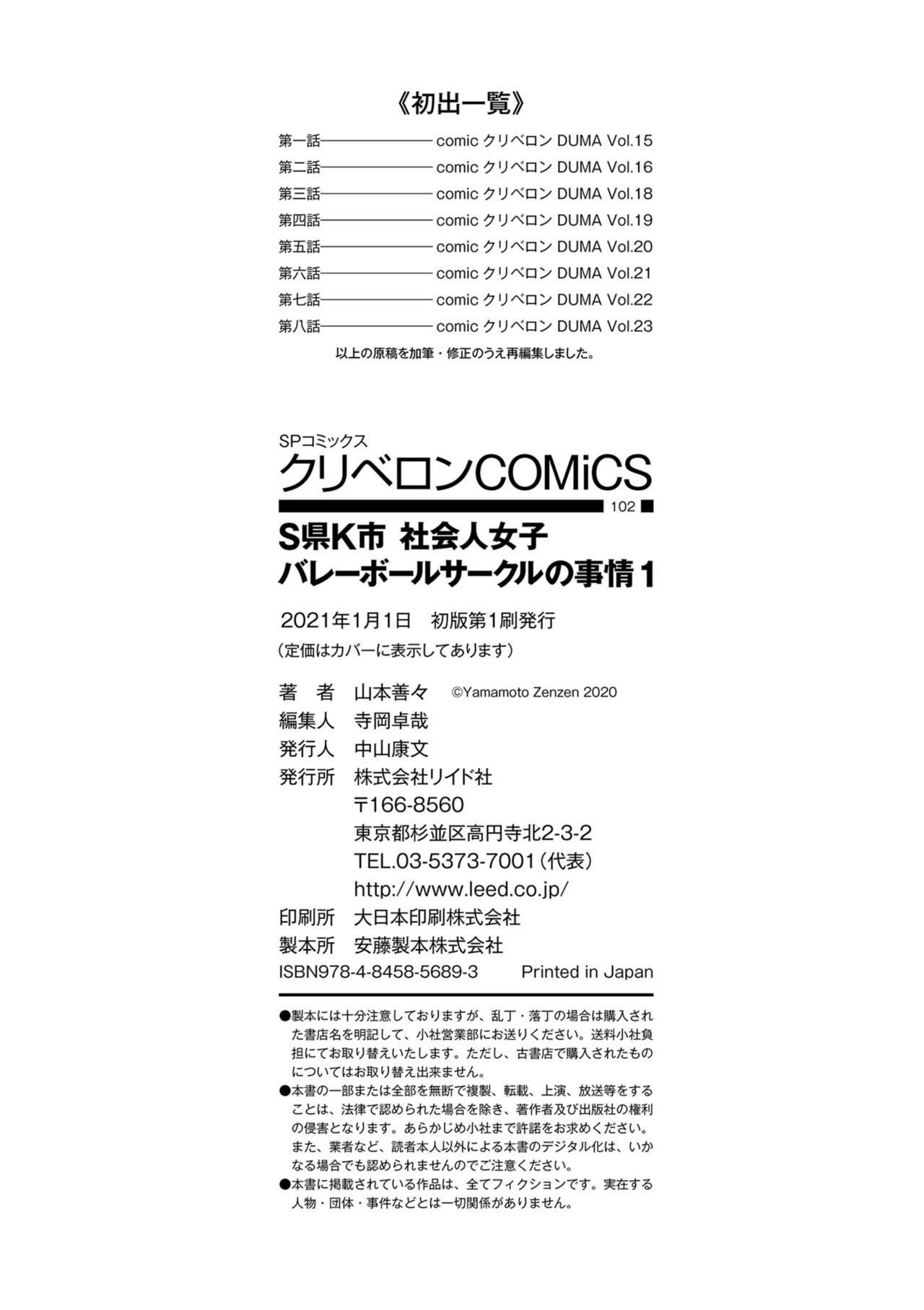 [Yamamoto Zenzen] S-ken K-shi Shakaijin Joshi Volleyball Circle no Jijou [Digital] 219