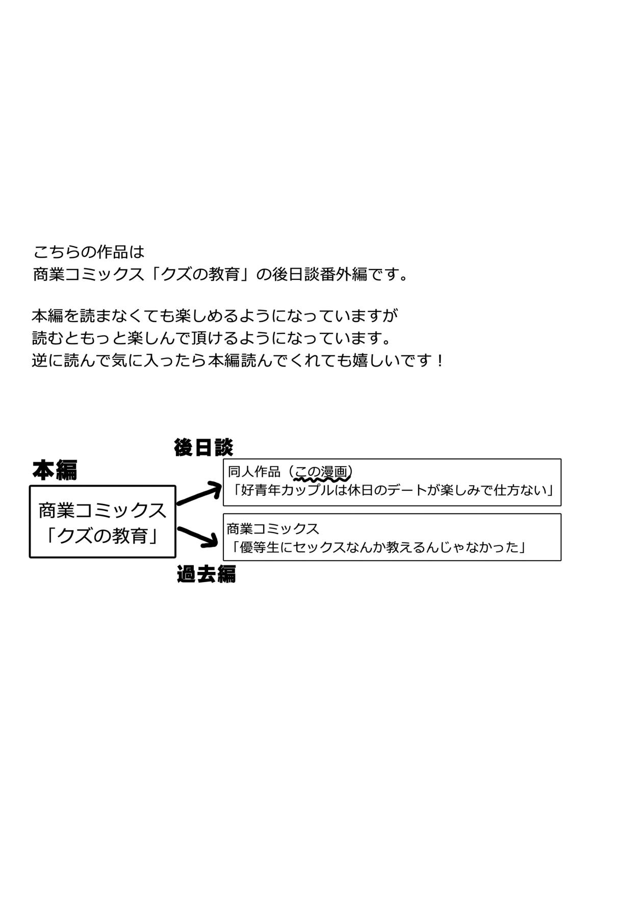 Kō seinen kappuru wa kyūjitsu no dēto ga tanoshimi de shikatanai 1